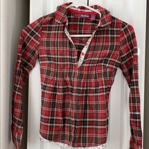 Red plaid and floral L/S button shirt Girls Med